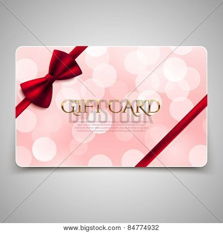 Gift Card With Red Bow. Vector Illustration. Voucher, Certificate