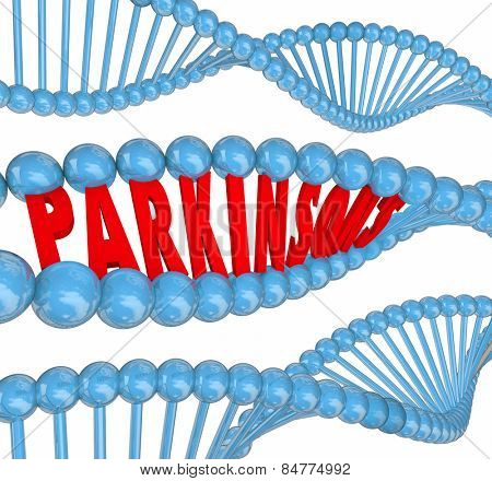 Parkinson's disease 3d letters spelling word in dna strands to illustrate medical research to treat or cure the neurological or nervous system disorder or condition