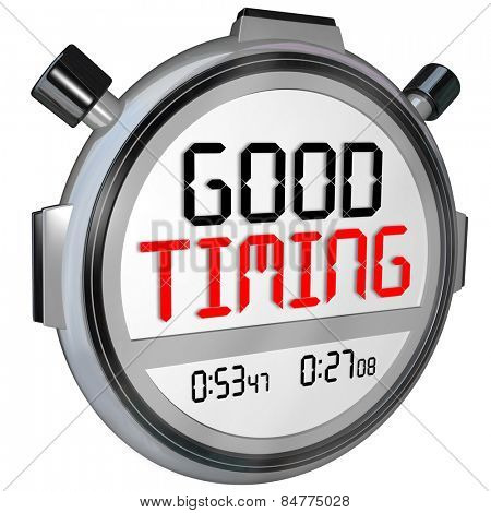 Good Timing words on a stopwatch or timer marking your fast speed or quick arrival at just the right moment