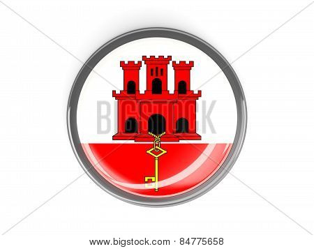 Round Button With Flag Of Gibraltar