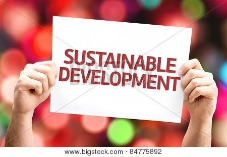 Sustainable Development card with colorful background with defocused lights