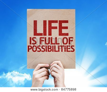 Life is Full Of Possibilities card with sky background