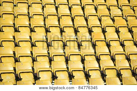 Yellow Spectators seats at a stadium