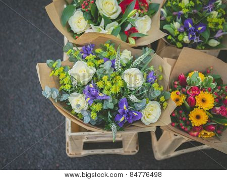 Flowers At A Stall In The Street