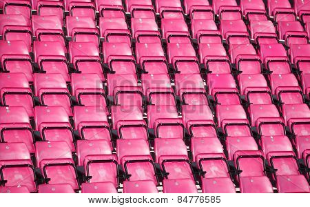 Pink Spectators seats at a stadium