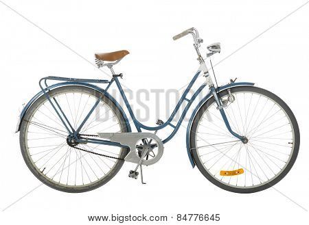 Blue Old fashioned bicycle isolated on white background