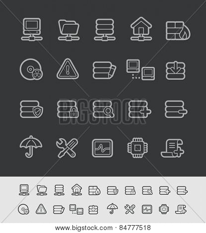 Server Icons // Black Line Series -- EPS 10+ Contain Transparencies
