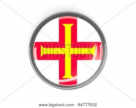 Round Button With Flag Of Guernsey