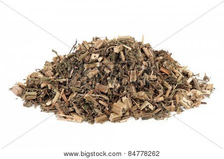 Motherwort herb used in chinese herbal medicine over white background. Yi mu cao