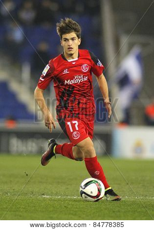BARCELONA - JAN, 22: Denis Suarez of Sevilla FC during spanish League match against RCD Espanyol at the Estadi Cornella on January 22, 2015 in Barcelona, Spain