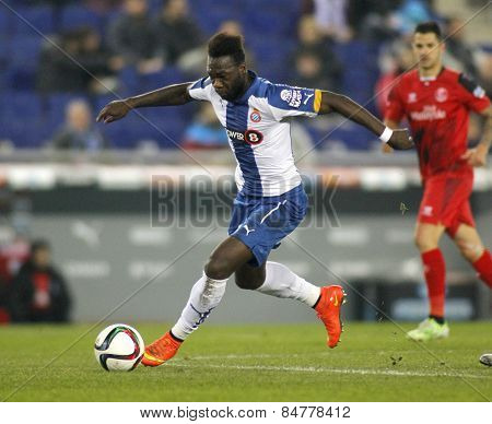 BARCELONA - JAN, 22: Felipe Caicedo of RCD Espanyol during spanish League match against Sevilla FC at the Estadi Cornella on January 22, 2015 in Barcelona, Spain