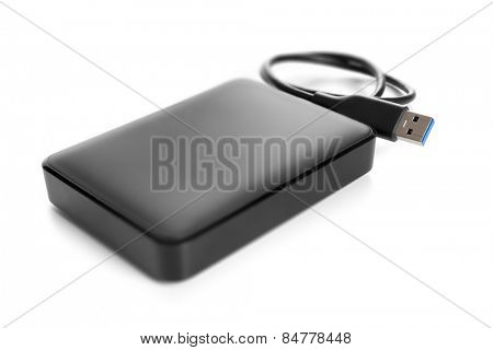 An image of an external hard drive isolated