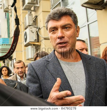 MOSCOW - AUG 31, 2010: Boris Nemtsov - russian statesman, one of the leaders of opposition during anti-Putin protest. Boris Nemtsov was killed in the night of Feb 28, 2015 in center of Moscow.