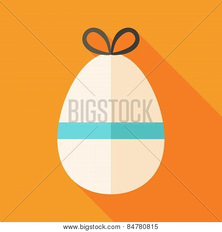 Easter Egg With Bowknot And Ribbon