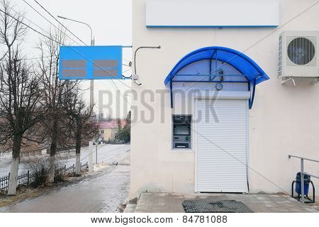 RUSSIA, KALUGA REGION, KOZELSK - FEBRUARY, 23: closed branch of the Bank Gazenergobank