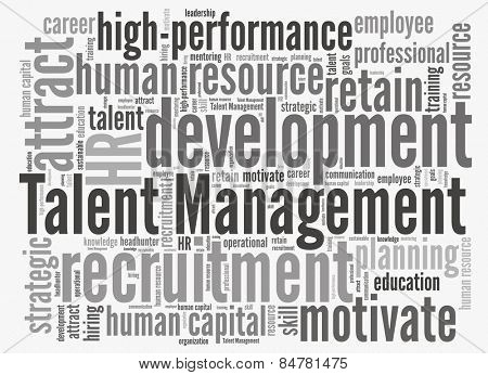 Talent management in word collage