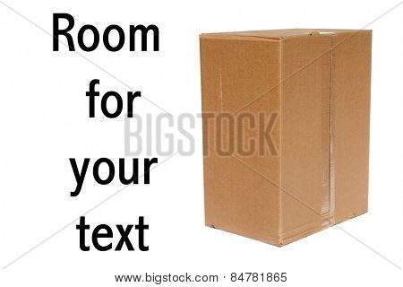 A genuine Cardboard Box isolated on white with room for your text
