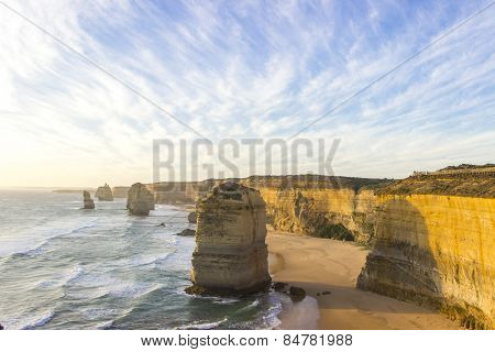 Cloudy Blue Sky At Twelve Apostles Attractions On Green Ocean Road