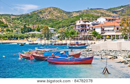 Beautiful Ouranoupolis harbour on Athos peninsula, Chalkidiki, Greece.