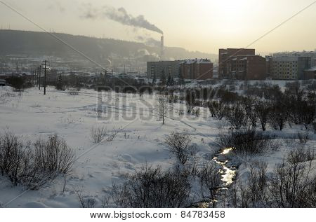 View of the evening winter city. Irkutsk region, Zheleznogorsk-Ilim