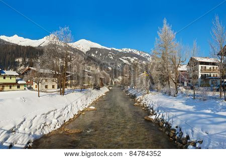 Mountains ski resort Bad Hofgastein Austria - nature and architecture background