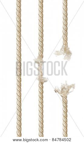 Set of ropes isolated on white background