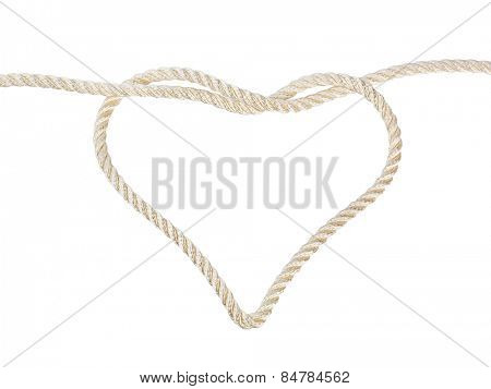 Heart shaped knot on a rope isolated on white background