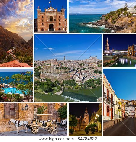 Collage of Spain images - nature and architecture background (my photos)