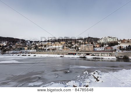 Sankt Moritz Lake And City In Winter