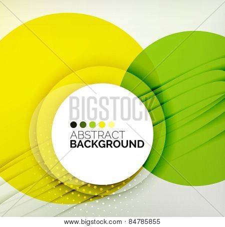 Color circles composition, rings, with shadows. Abstract background