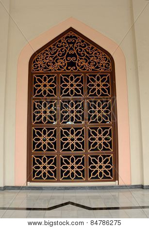 Door detail of Al Azim Mosque in Malacca, Malaysia