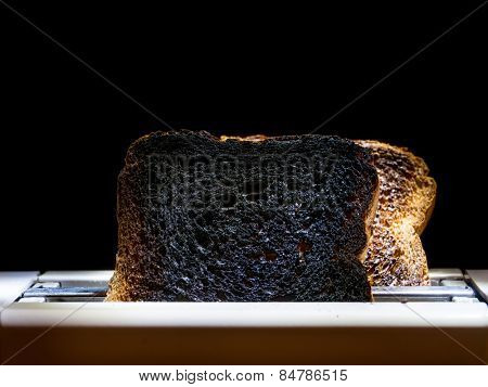 Two burnt toast slices sticking out of toaster over black background