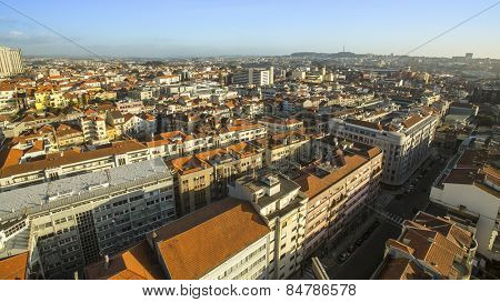 Panorama bird's-eye view of the centre of Porto, Portugal.