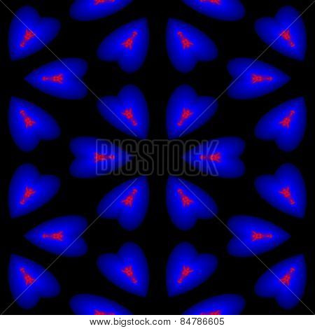 Endless pattern of dark blue hearts in which the fire is burning on a black background