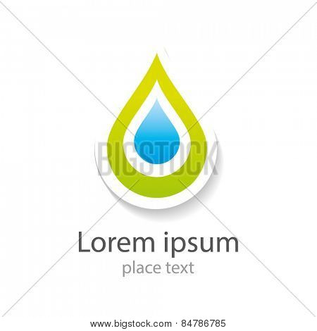 Water drop abstract vector logo design template. Water drop blue. Creative shape Aqua concept icon. Clear bio eco idea. Ecology technology.