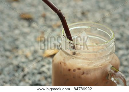 Cocoa In Glasses On The Background Of Rocks.