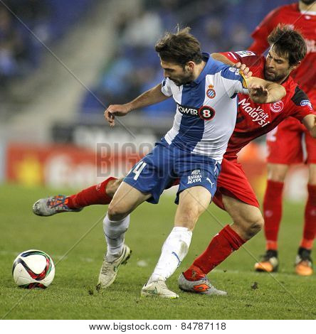 BARCELONA - JAN, 22: Victor Sanchez of RCD Espanyol during spanish League match against Sevilla FC at the Estadi Cornella on January 22, 2015 in Barcelona, Spain