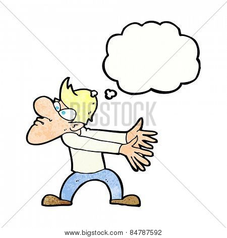 cartoon annoyed man gesturing with thought bubble
