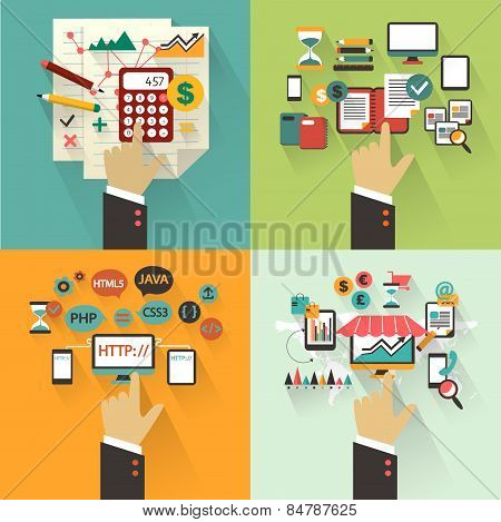 Flat design. Set of business concept with hands.