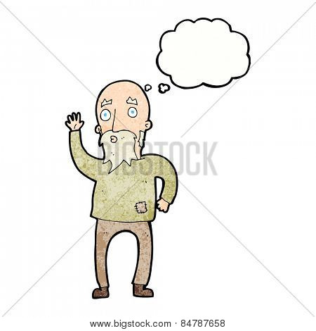 cartoon old man waving with thought bubble