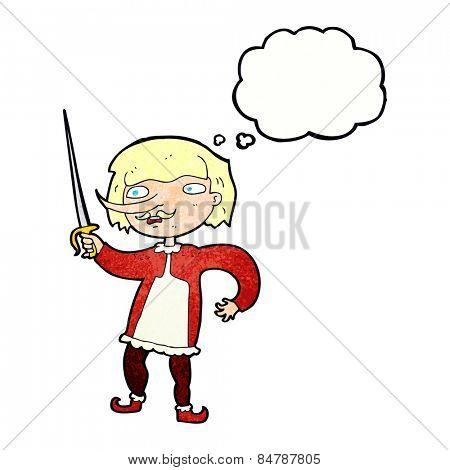 cartoon musketeer with thought bubble