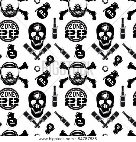 Seamless pattern with image of skull and crossbones with a helmet. Black print on a white background