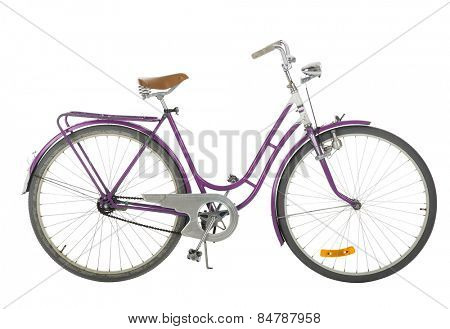 Pink Old fashioned bicycle isolated on white background