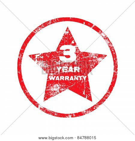 three year warranty red grungy stamp isolated on white background.