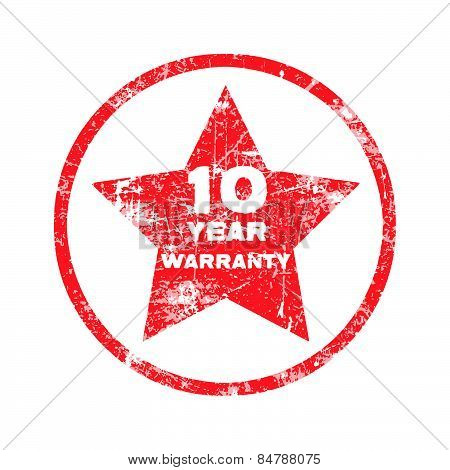 ten year warranty red grungy stamp isolated on white background.