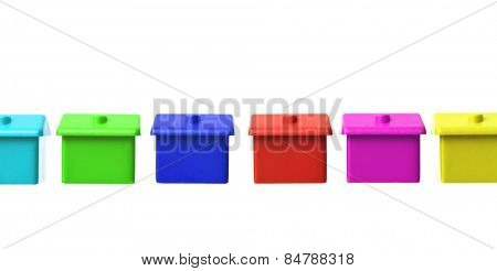 Row of Colored Toy house on white background