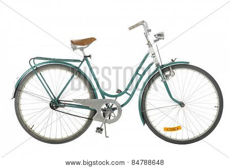 Green Old fashioned bicycle isolated on white background