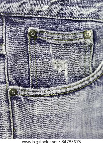 Extreme close up on blue jeans texture