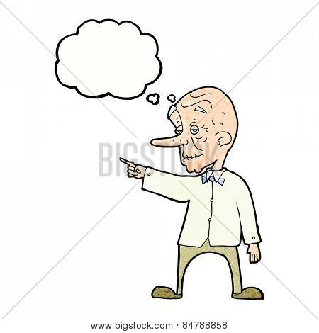 cartoon old man pointing with thought bubble