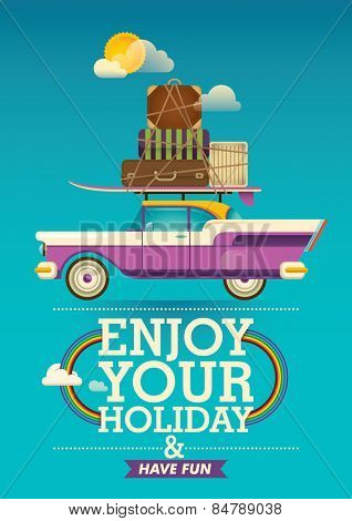 Traveling background with retro car. Vector illustration.